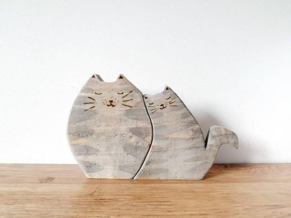reclaimed wood cat ornaments mothers day gift idea