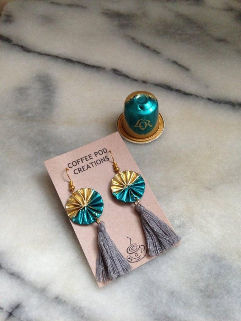 upcycled coffee pod earrings