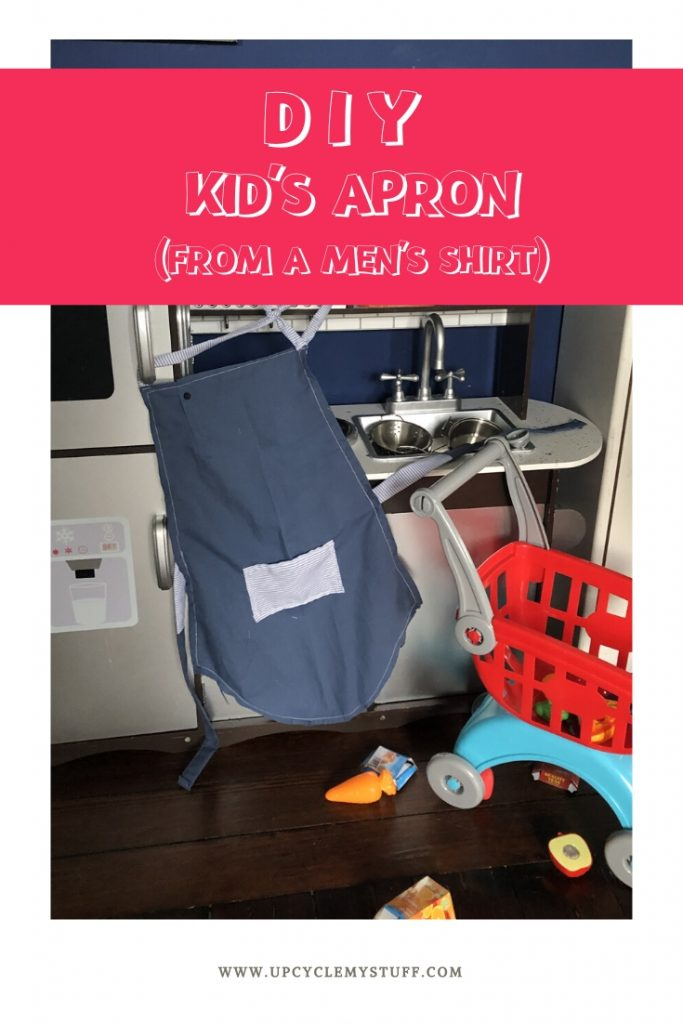 DIY kids apron from a man's shirt