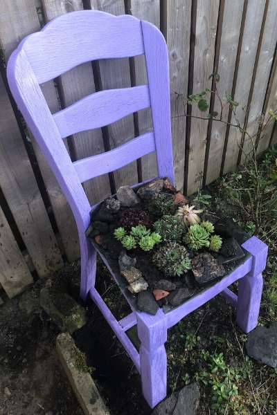 DIY upcycled chair planter