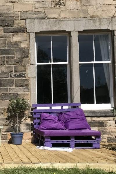 purple pallet sofa