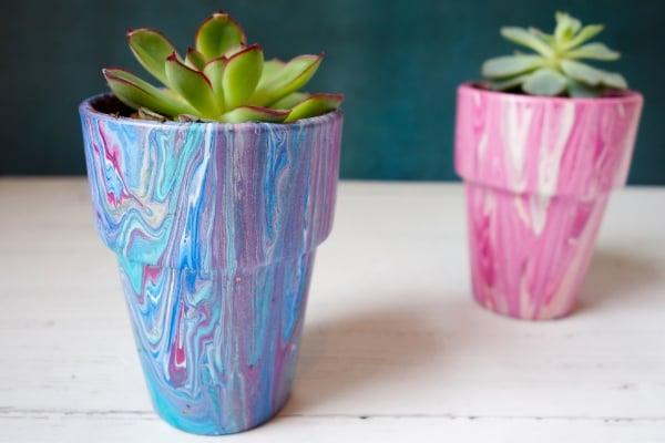acrylic pour terracotta plant pots
