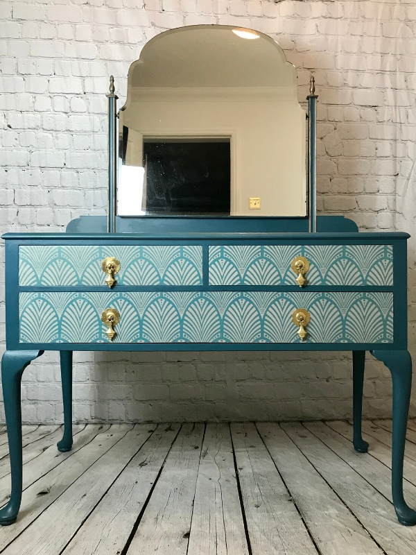 art deco dressing table makeover after