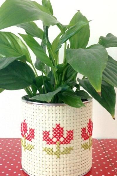 cross stitch planter