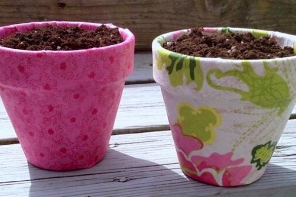 decoupaged terracotta pots