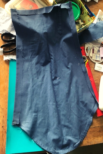 kid's apron from a man's upcycled shirt - ready to hem