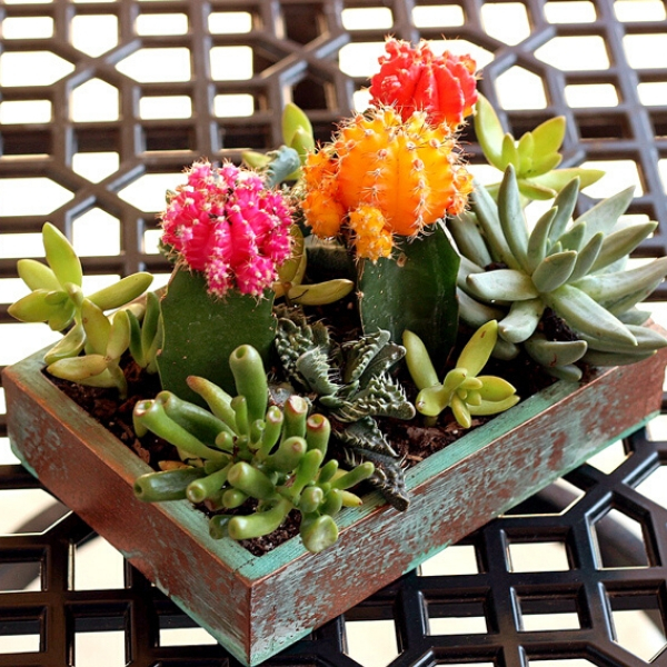 faux copper upcycled toy box planter