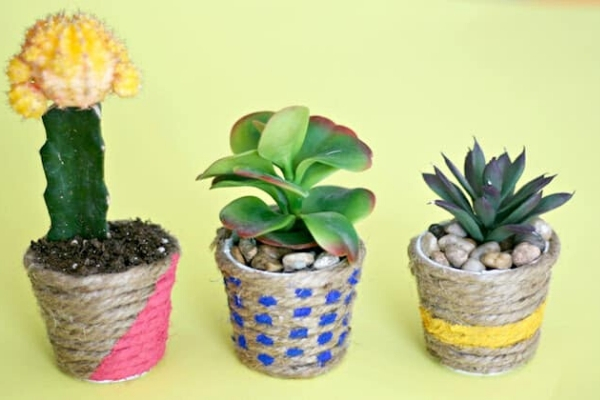 modern twine wrapped planters
