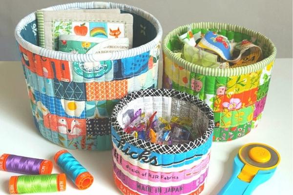 patchwork storage baskets sewing pattern