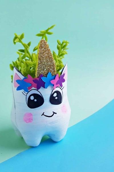 plastic bottle planter unicorn