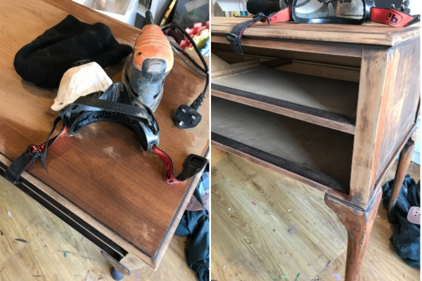 removing varnish from a dressing table