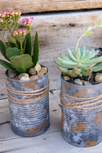 rustic look tin can upcycled planters