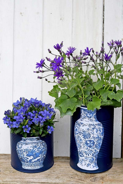 tin can upcycled planters