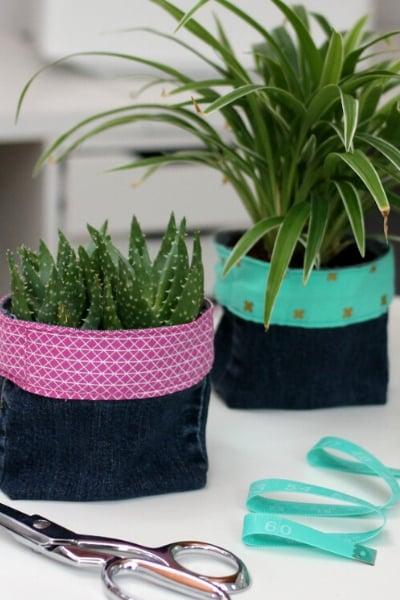 upcycled denim planters