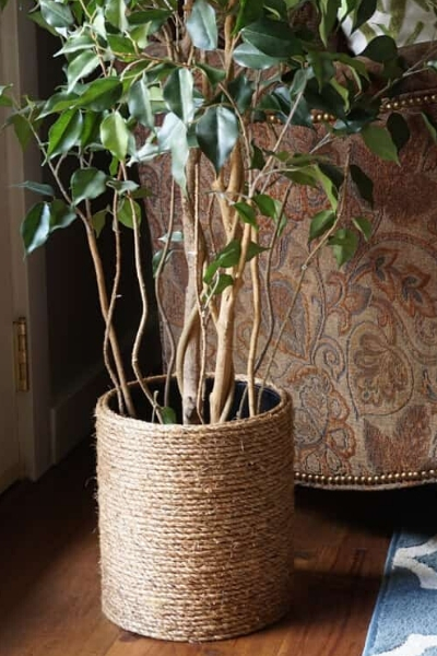 upcycled planter trash can with rope