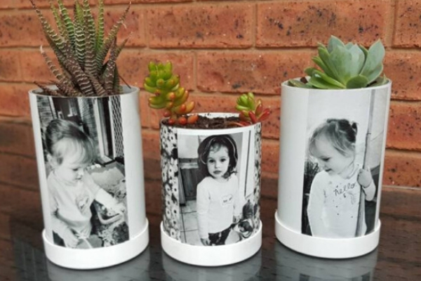 upcycled pvc pipe planters with photos