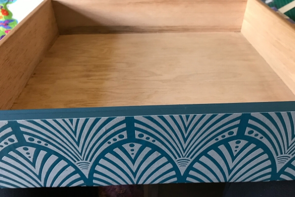 wallpaper decoupage on dressing table drawers