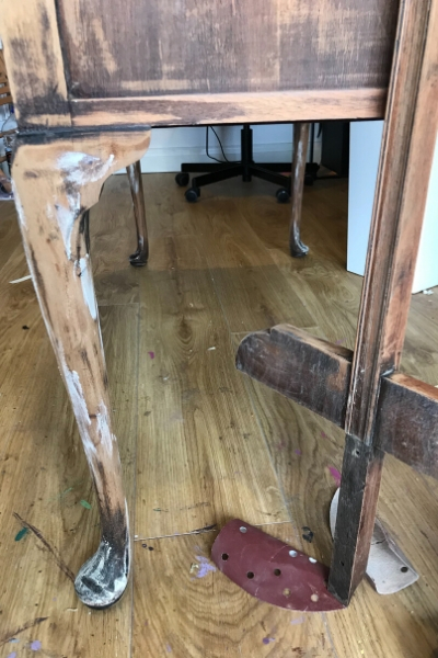 wood filler repairs on dressing table