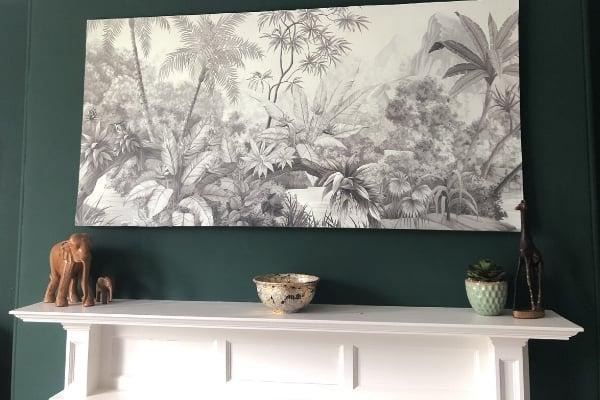 DIY Large Wall Art - Tangled Jungle Monochrome