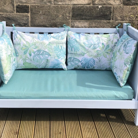 how to upcycle a cot bed into a garden bench