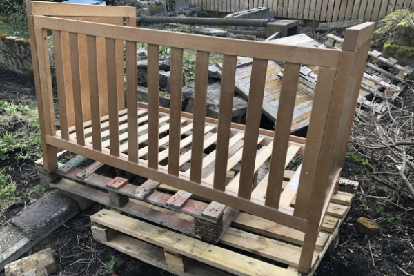cot bed to upcycle into a garden bench