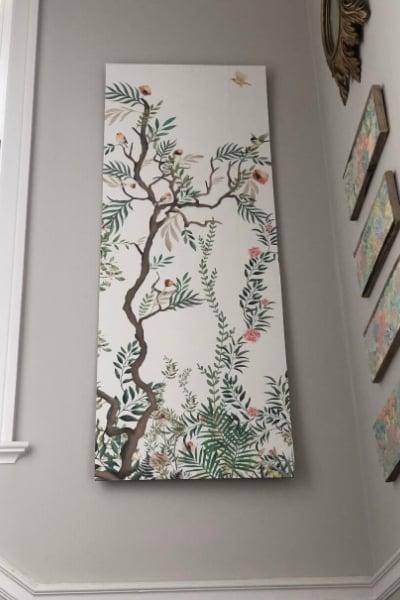 DIY large wall art from wallpaper panels