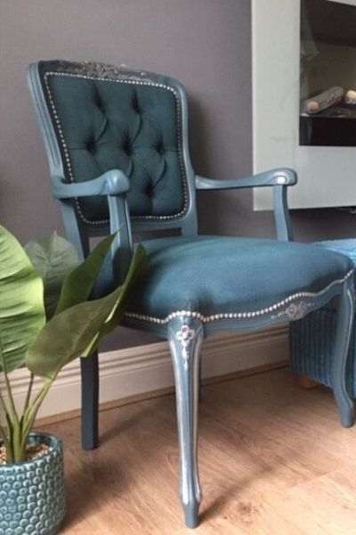 painted fabric armchair makeover - after