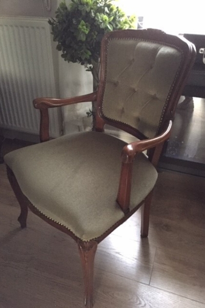 painted fabric armchair - before