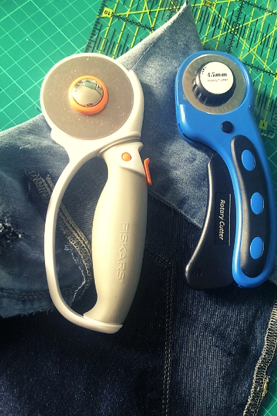 cutting stretch denim rotary cutter