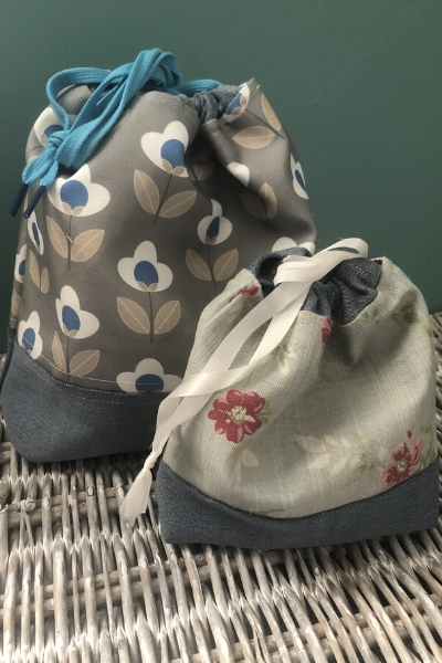 upcycled stretch denim used in drawstring bags