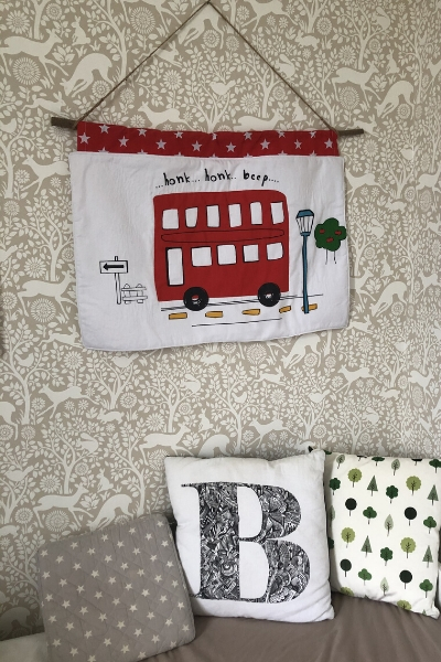 bus themed kid's wall hanging