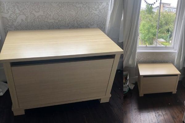 diy toy box seat cushion - before