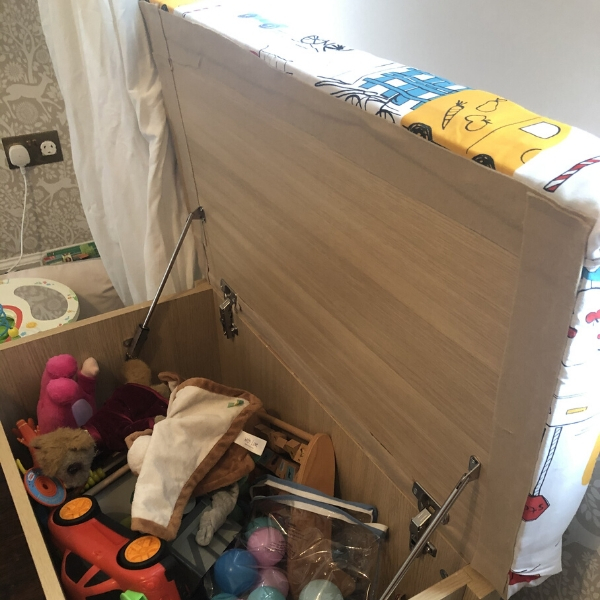 upholstered toy box inside