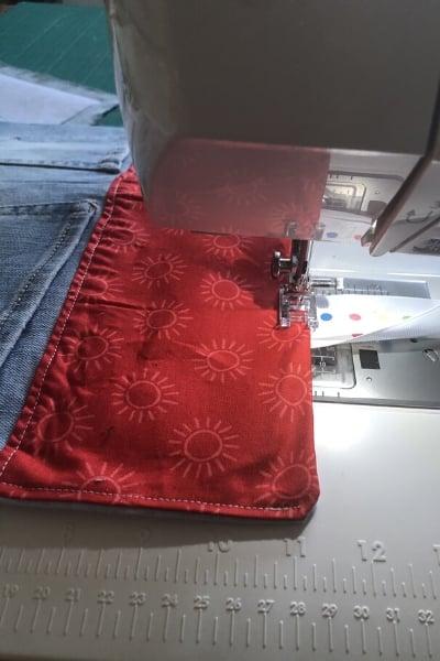 bedside pocket organizer - top sttiching