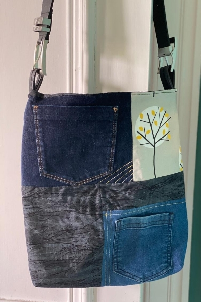 diy denim bag with leather belt strap - back