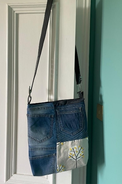 diy denim bag with leather belt strap