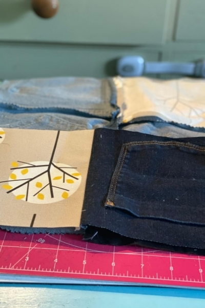 diy denim handbag back panel