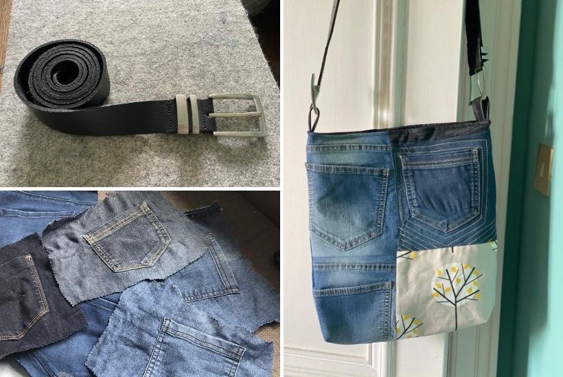 diy denim handbag from old jeans and an upcycled leather belt