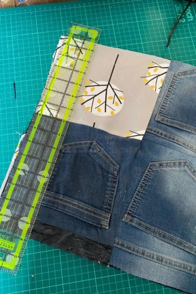 diy denim handbag front panel