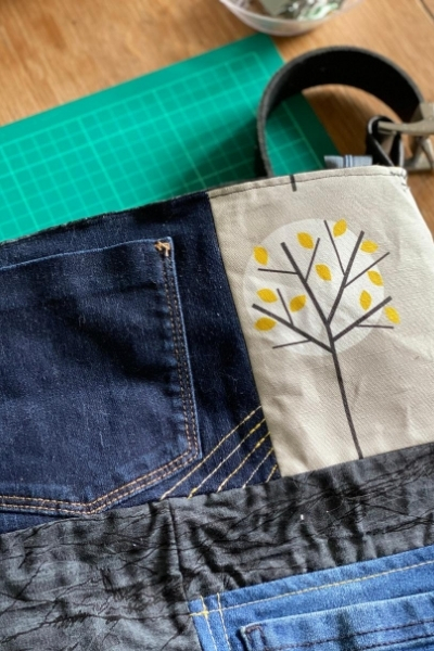 DIY denim bag machine embroidery