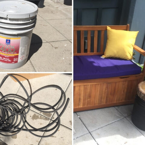 repurposing junk to make an outdoor side table