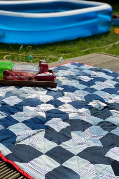 diy denim quilt picnic blanket reversible