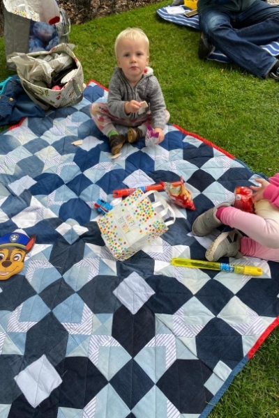 diy denim quilt picnic blanket