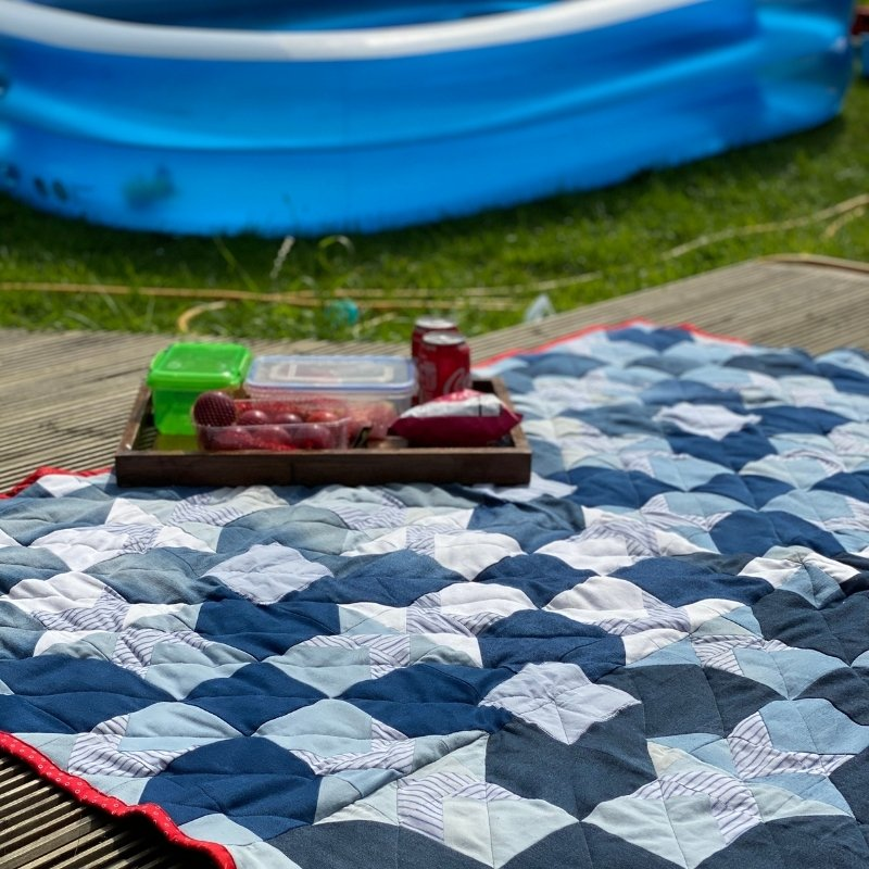 diy denim quilt picnic blanket reversible