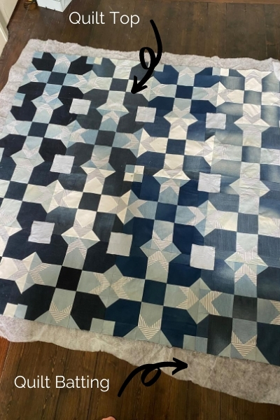 quilt top and quilt batting