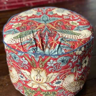 diy footstool from an upcycled plastic tub - after