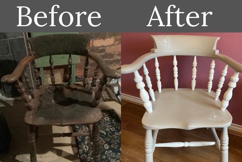 how to paint a wooden chair before and after