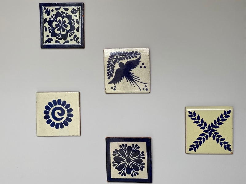 gallery wall of tiles as walll art