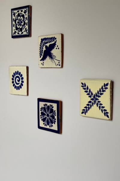 upycled tiles as wall art
