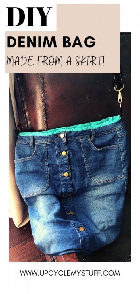 diy denim bag from a skirt